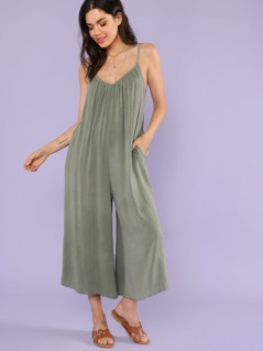 Pocket Side Wide Leg Cami Jumpsuit