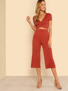 Self Tie Surplice Top With Palazzo Pants