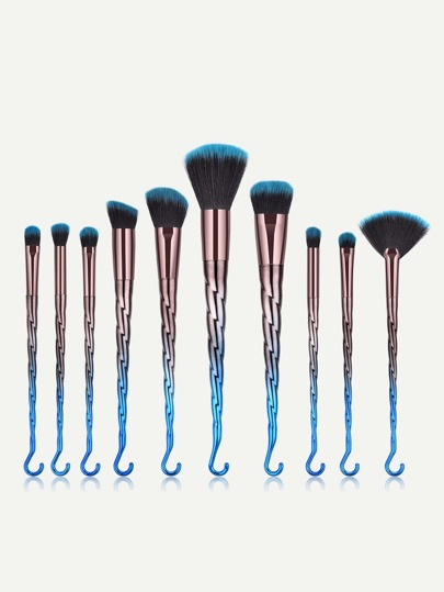 Ombre Hook Handle Makeup Brush 10pcs