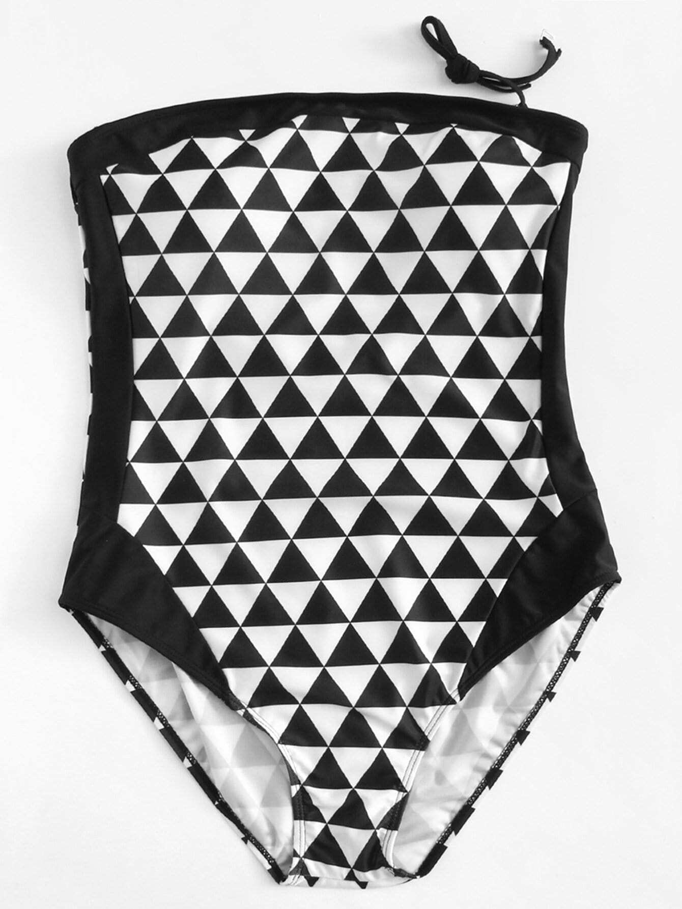 Plus Triangle Print Bandeau Swimsuit