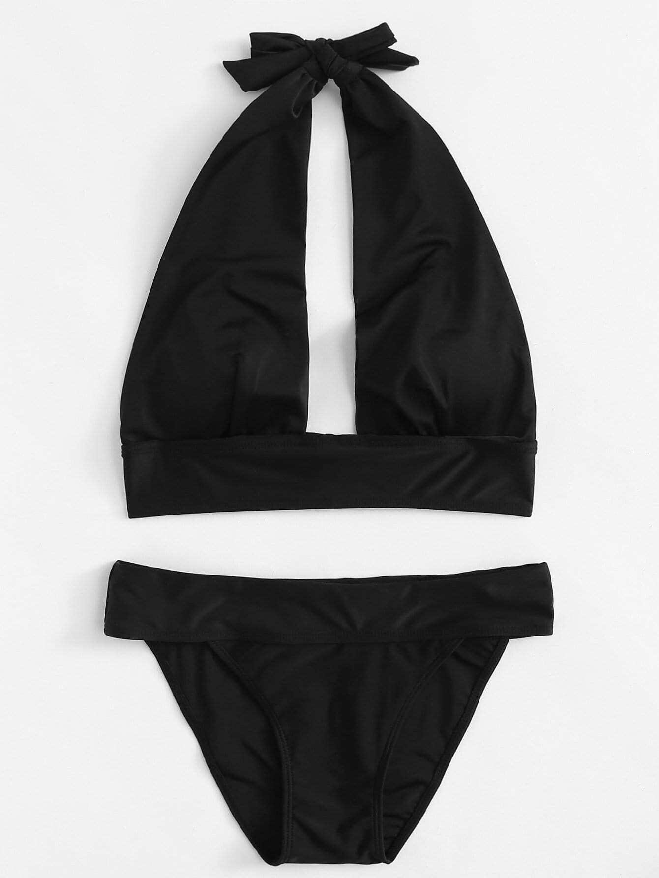 Halter Plain Bikini Set