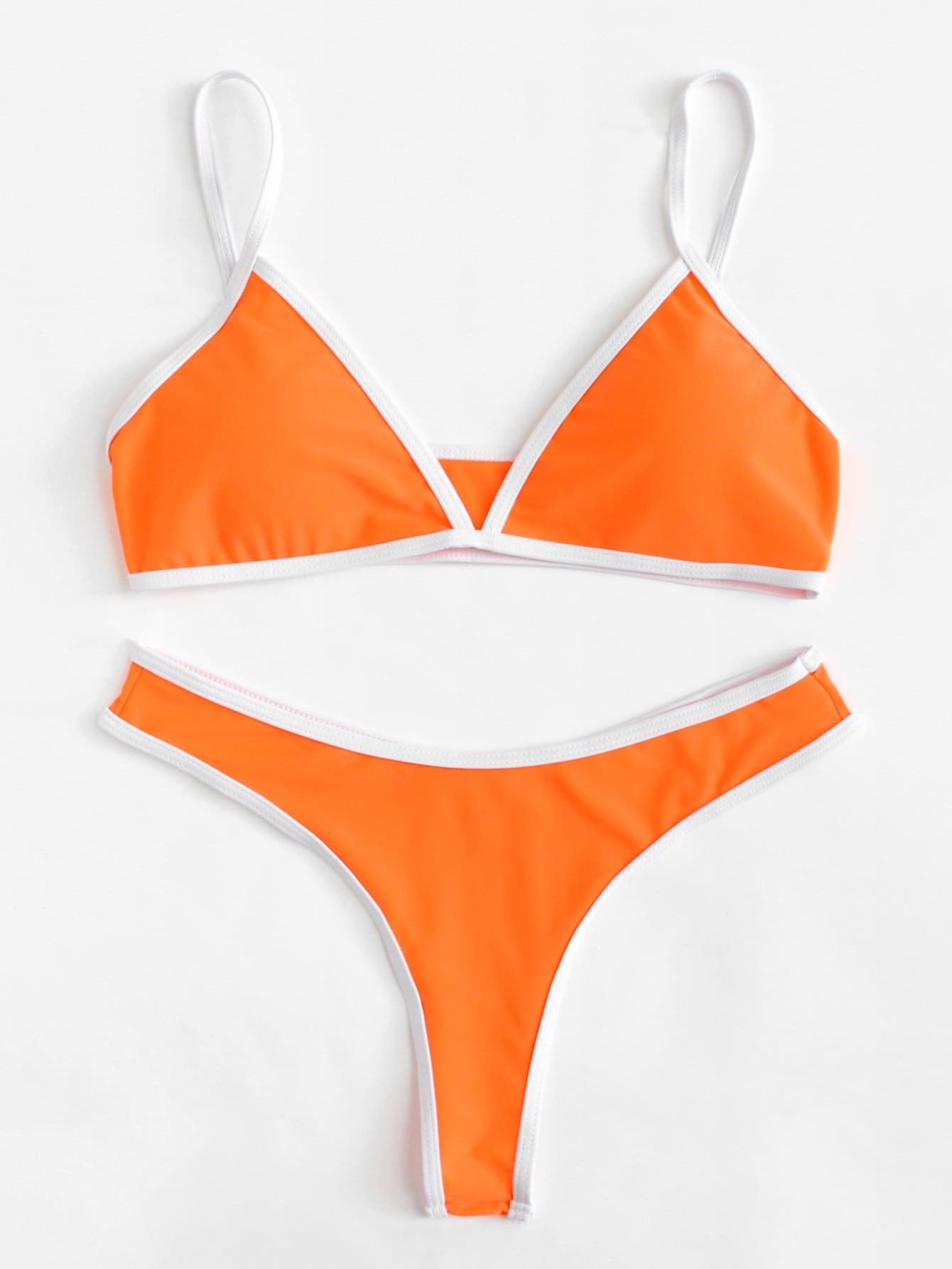 Фото Contrast Piping Bikini Set checker knot bikini set