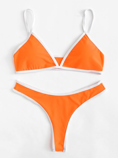 Contrast Piping Bikini Set