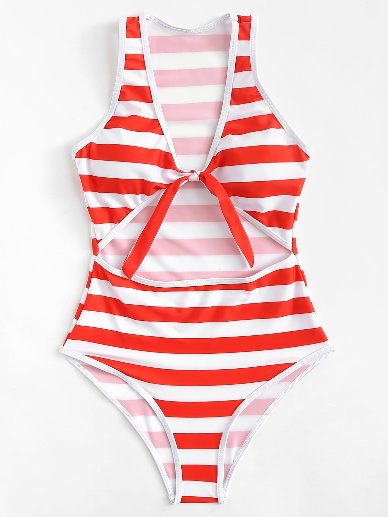 Knot Front Striped Swimsuit wrap knot swimsuit