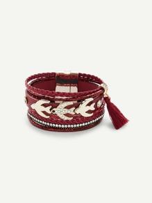 Bird Decorated Mulch Layer Bracelet