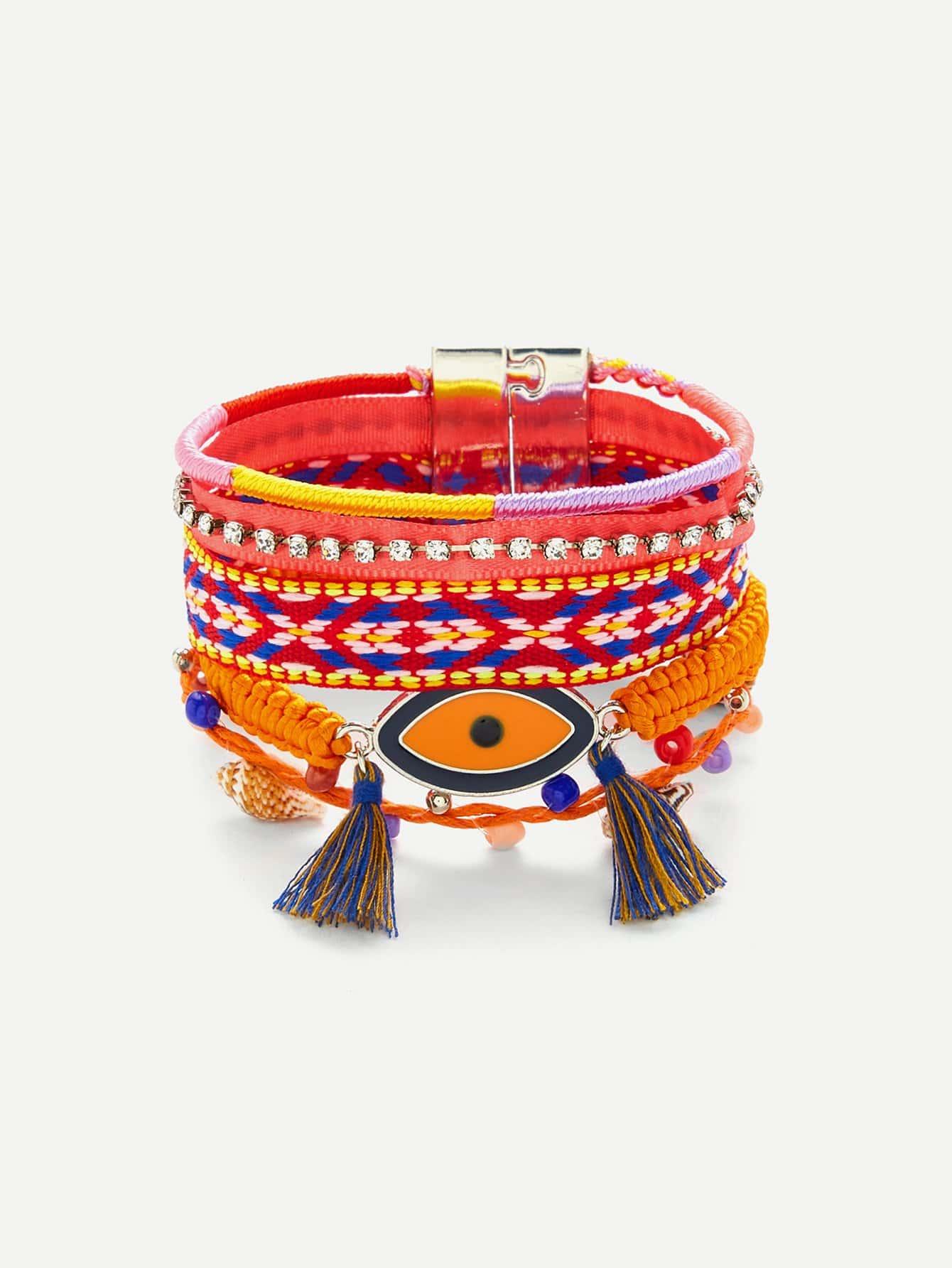Layered Braided Bracelet shambhala one diamond rhinestone bead ball nylon braided bracelet