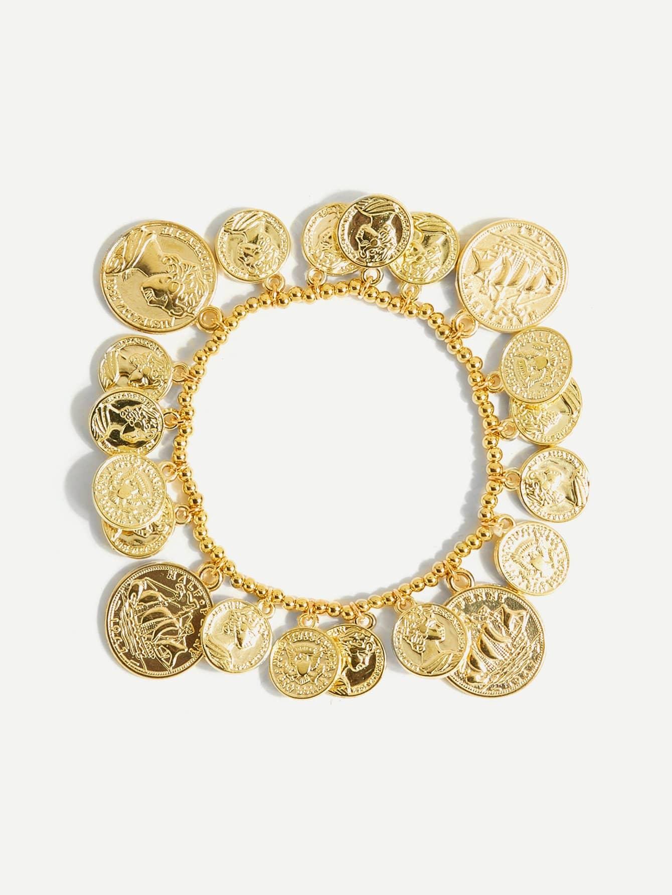 Coin Design Beaded Bracelet dull polished mixed beaded bracelet