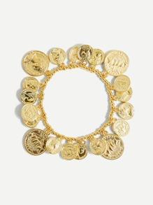 Coin Design Beaded Bracelet