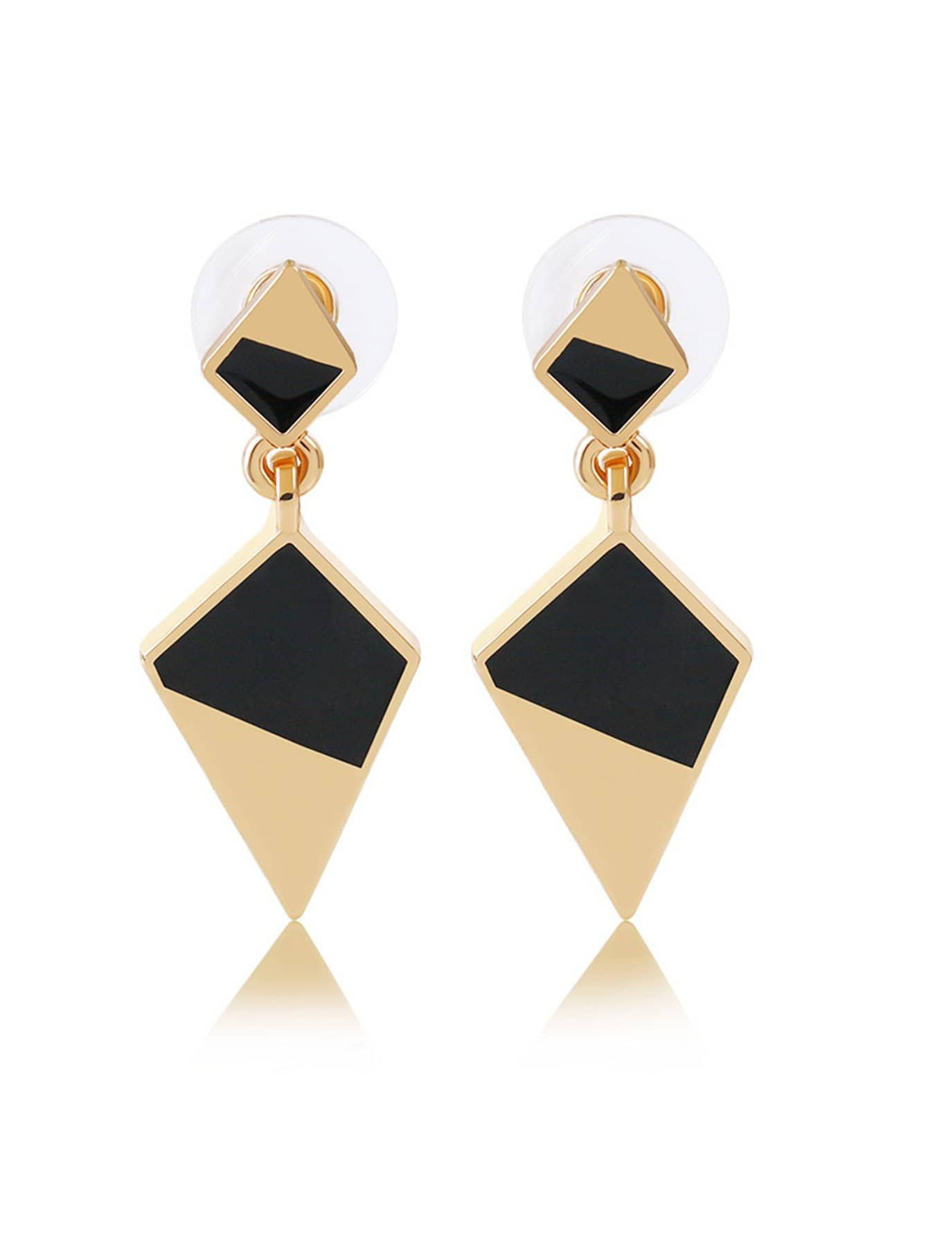 Two Tone Geometric Drop Earrings two tone drop shoulder tee