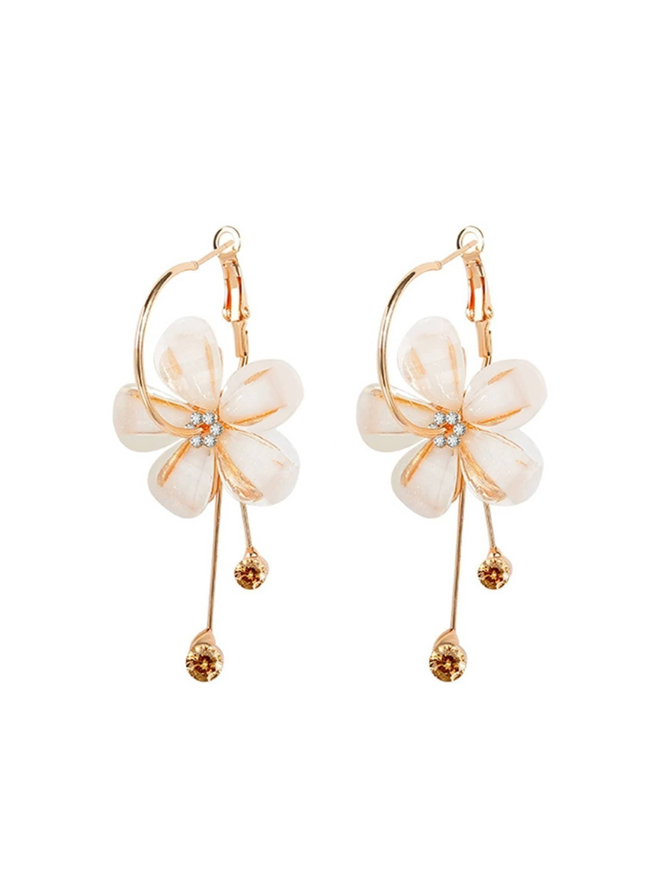 Clip On Flower Earrings