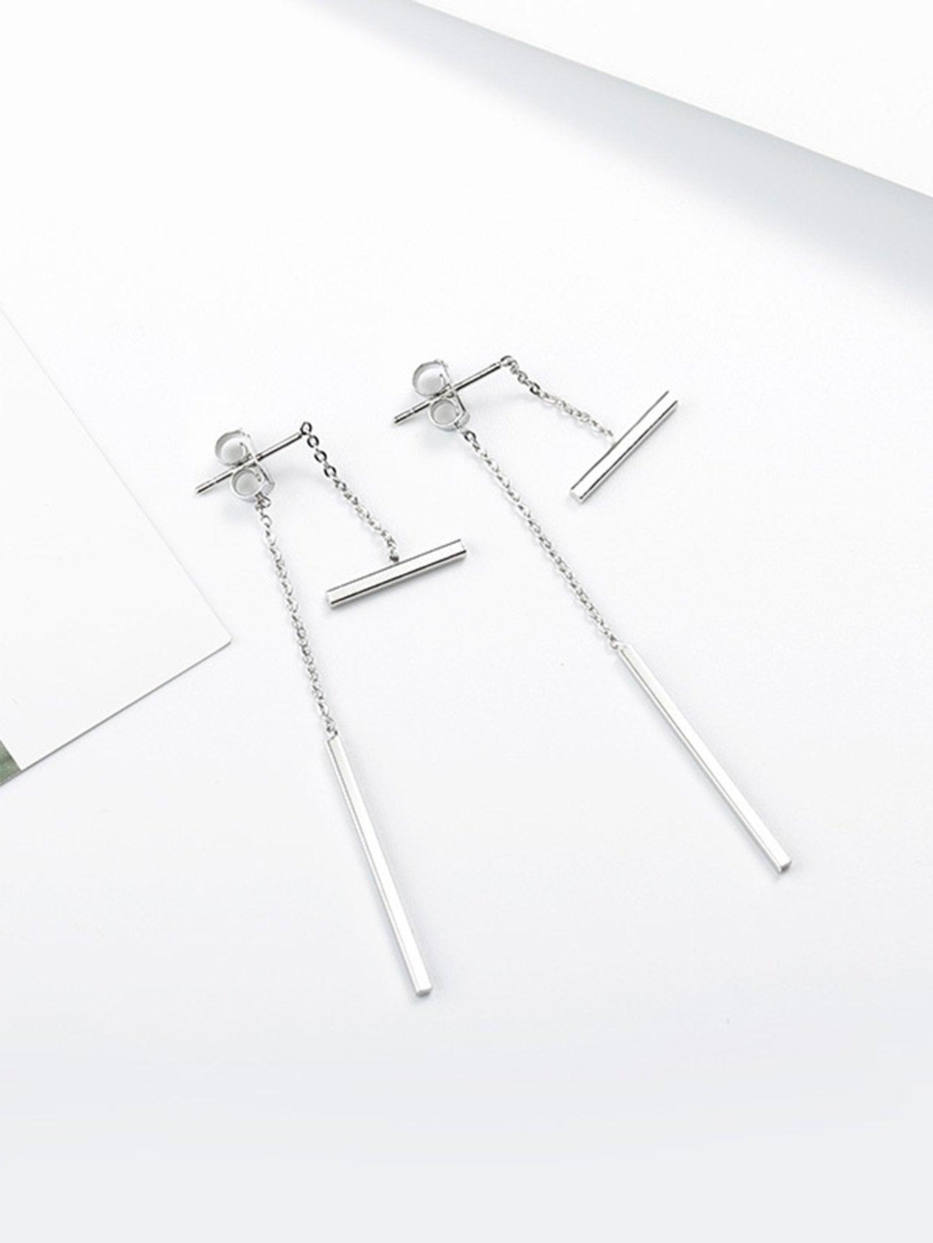 Bar Detail Detachable Drop Earrings silver plated bar dangle drop earrings
