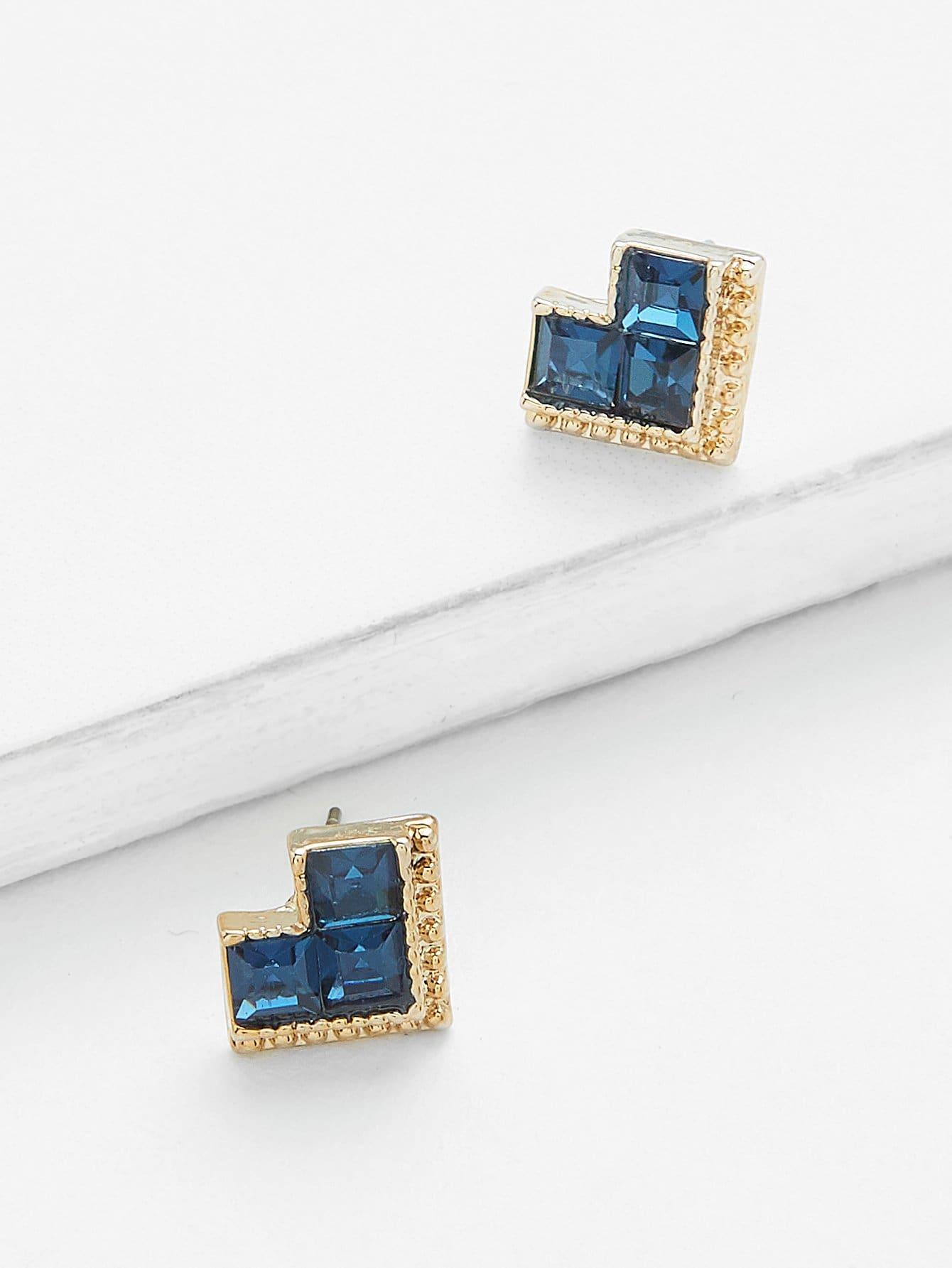 Heart Shape Rhinestone Stud Earrings floral shape rhinestone earrings
