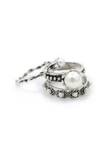 Faux Pearl Spiral Ring Set 3pcs