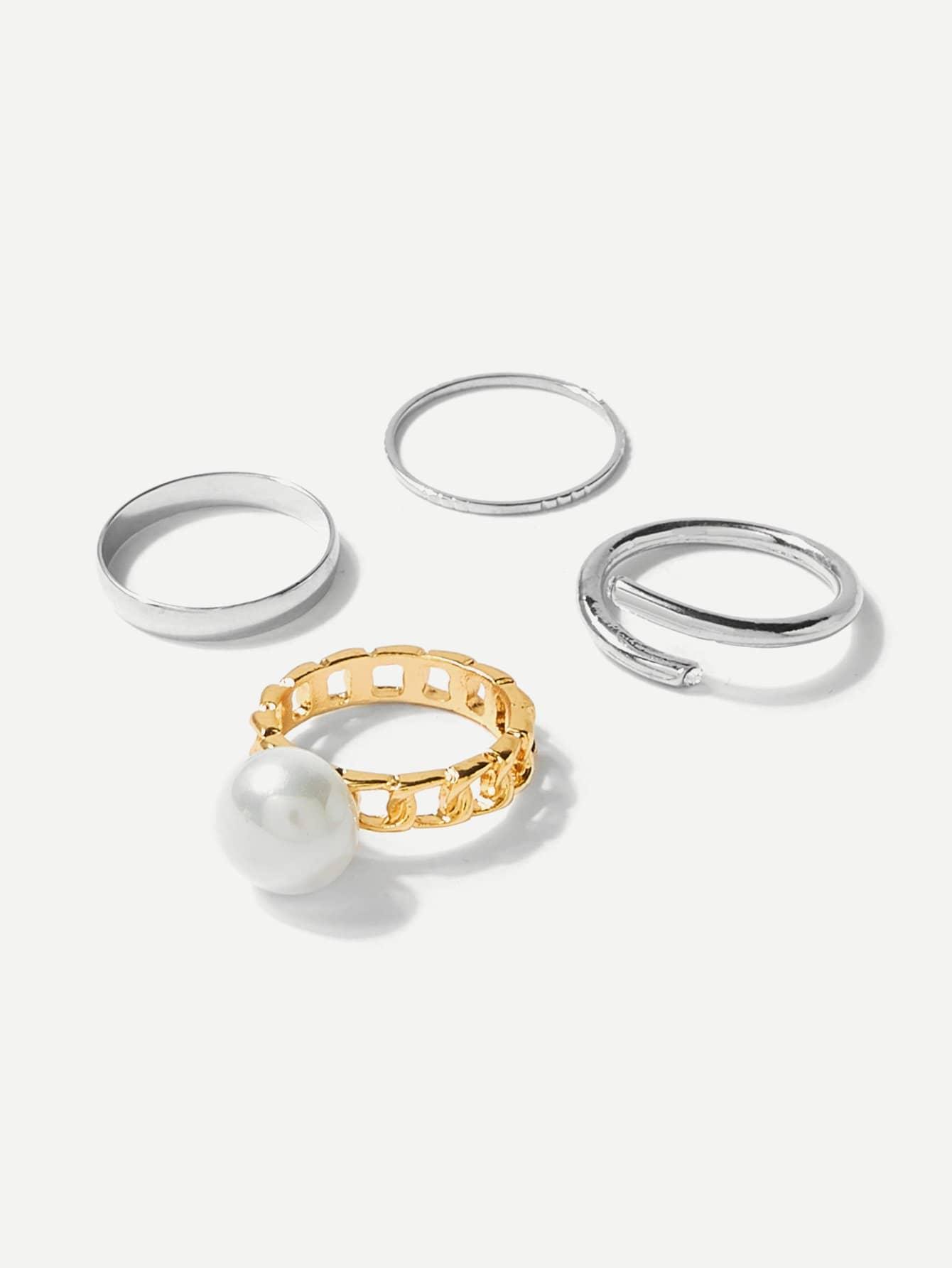 Faux Pearl Ring Set 4pcs faux pearl asymmetrical ring