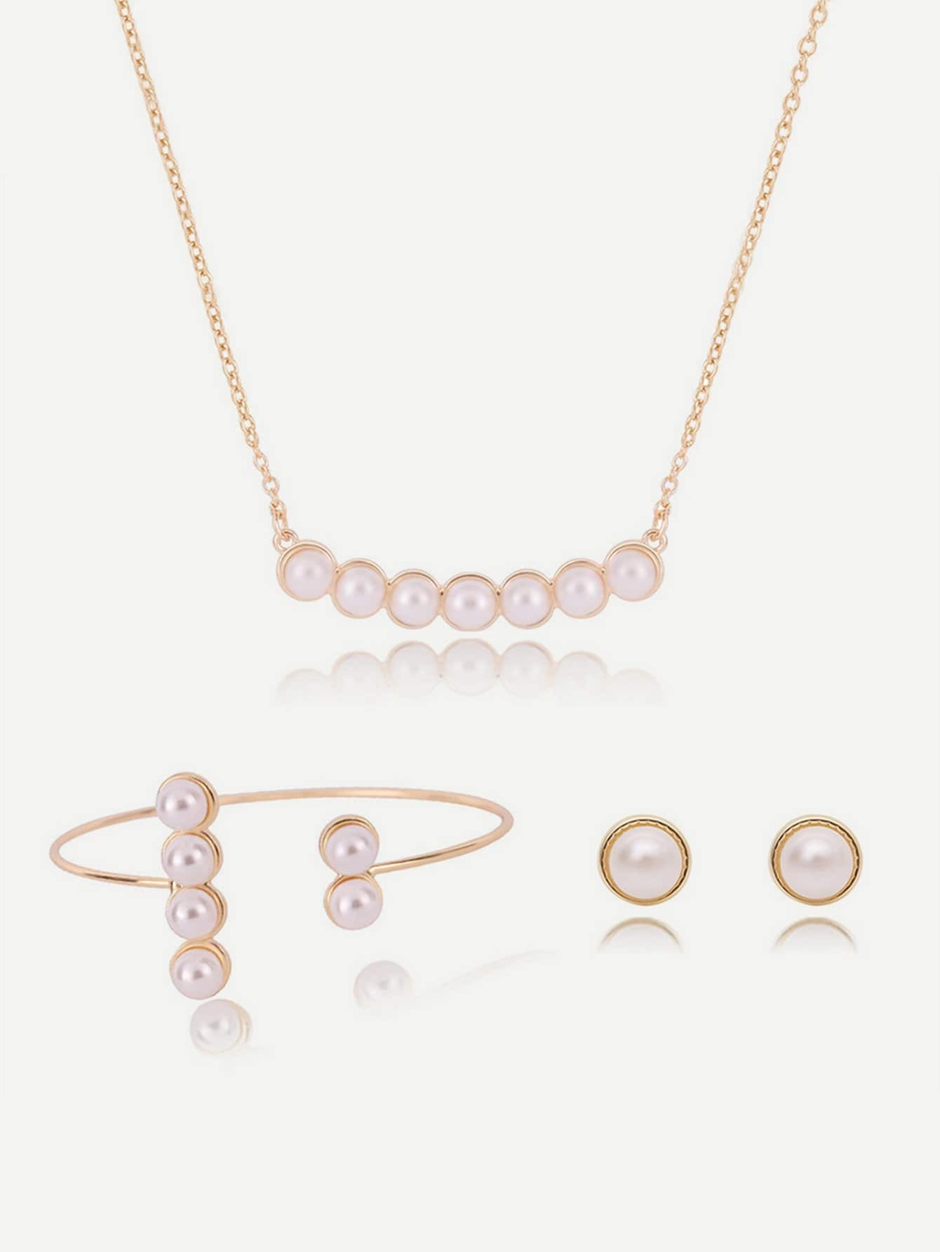 Faux Pearl Chain Necklace & Earrings Bracelet
