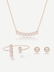 Faux Pearl Chain Necklace & Earrings & Bracelet