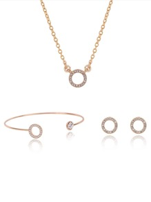Ring Detail Necklace & Earrings & Bracelet