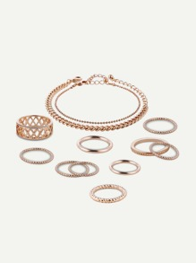 Hollow Detail Ring And Chain Bracelet Set 12pcs