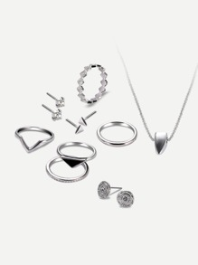 Geometric Necklace 1pc & Earrings 3airs & Ring Set 5pcs