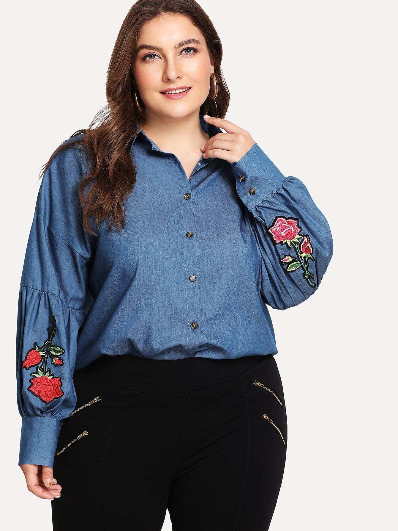 Plus Rose Embroidered Drop Shoulder Denim Shirt