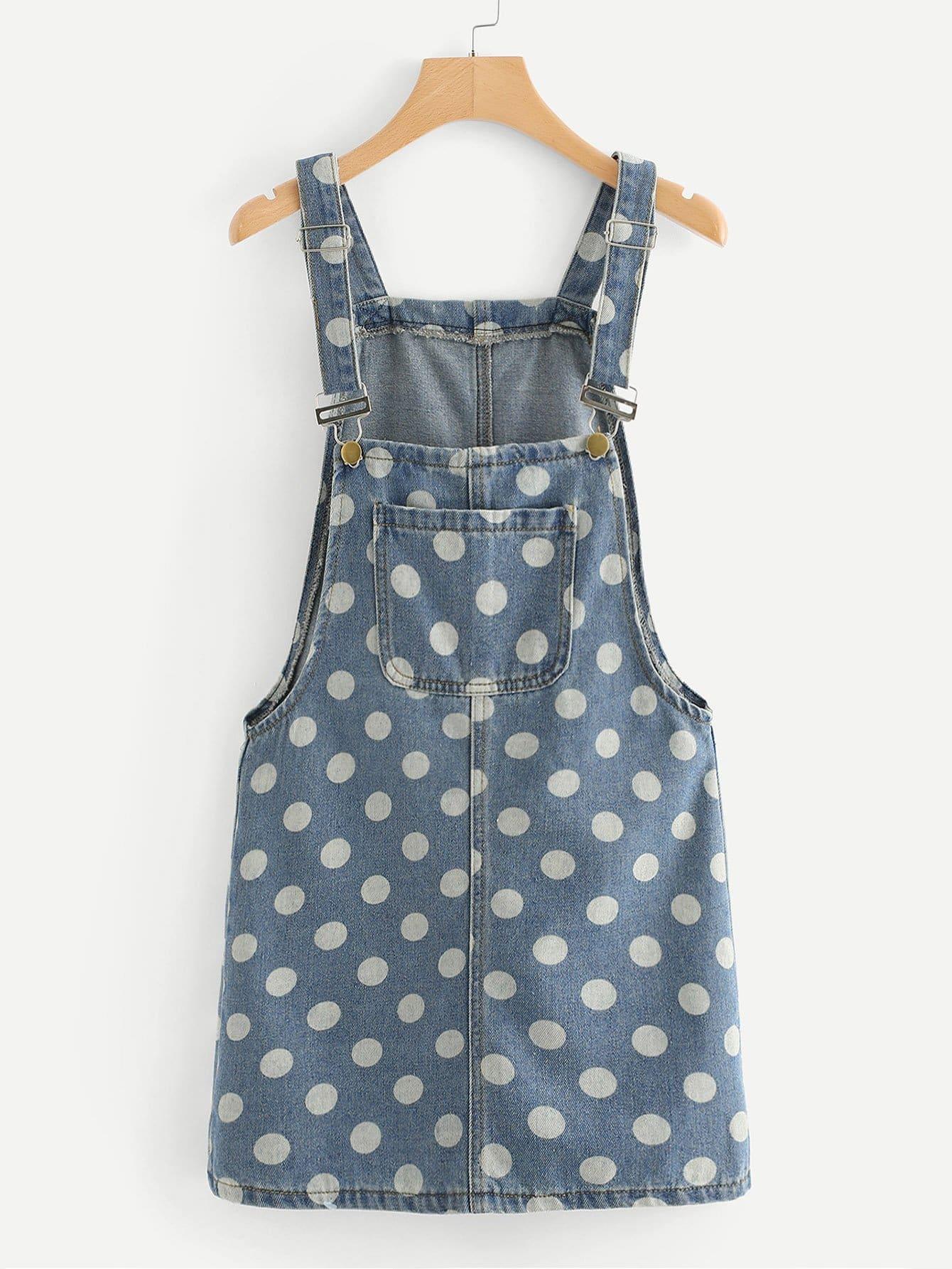 Dot Print Overall Denim Dress denim overall dress
