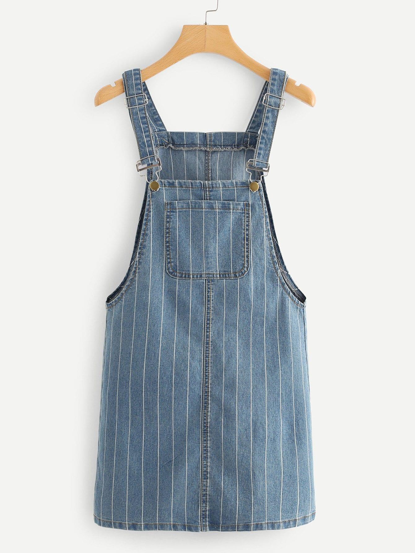 Pinstripe Overall Denim Dress overall yumi overall