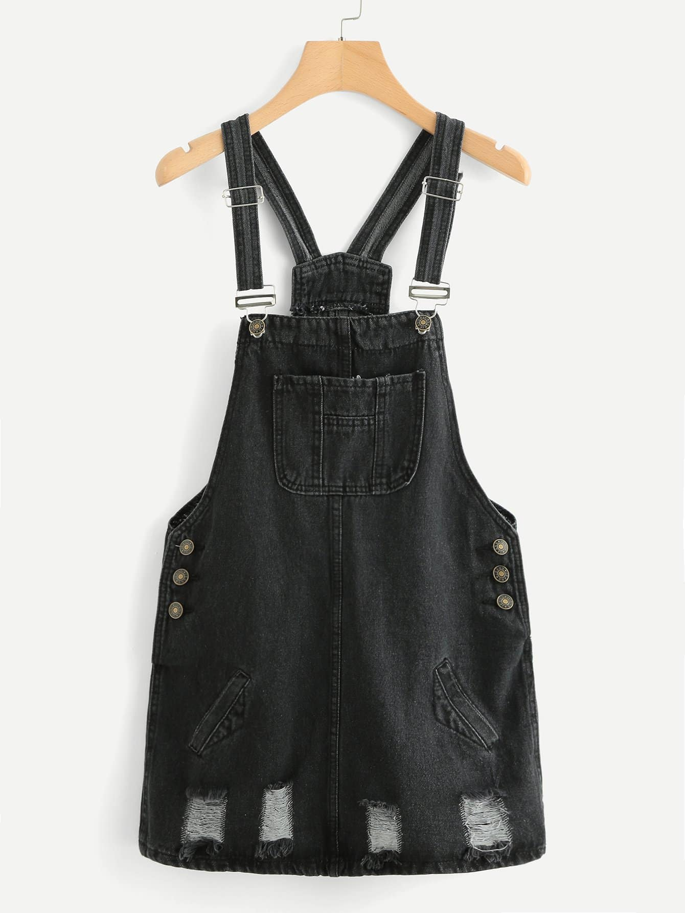 Button Side Ripped Overall Denim Dress overall yumi overall