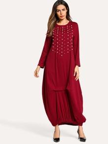 Faux Pearl Beading Longline Dress