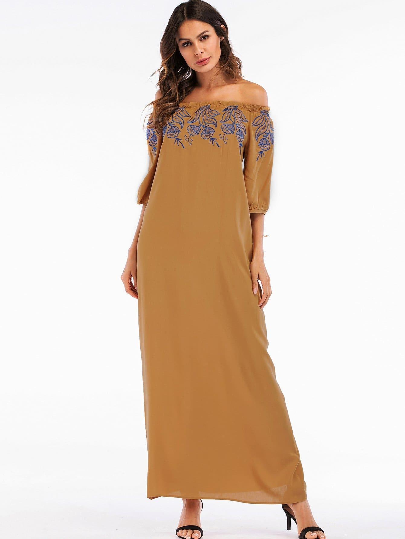 Floral Embroidered Off Shoulder Tie Detail Dress sweet off the shoulder floral dress for women