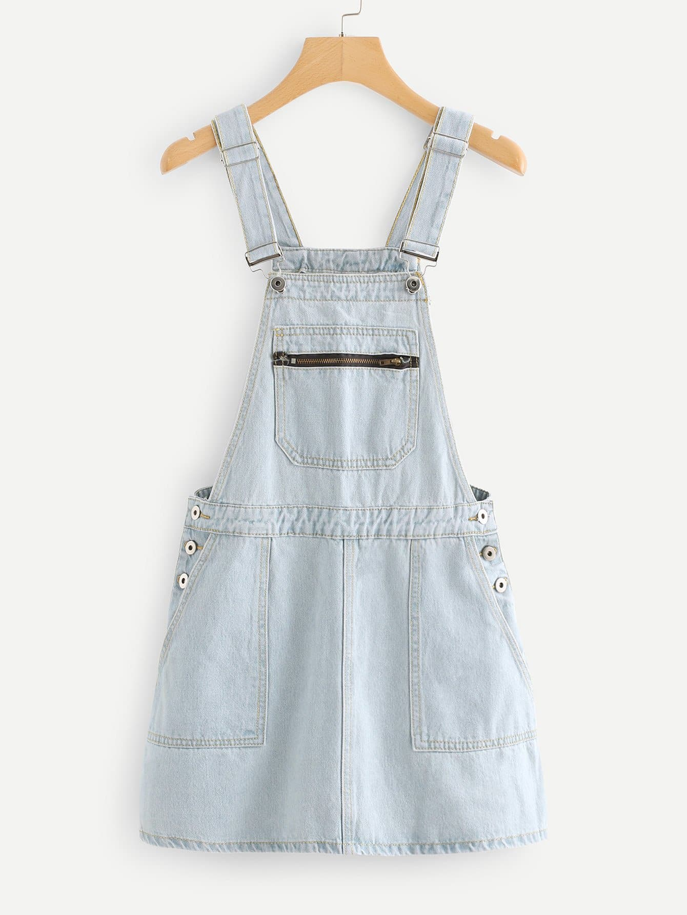 Pocket Front Overall Denim Dress overall yumi overall