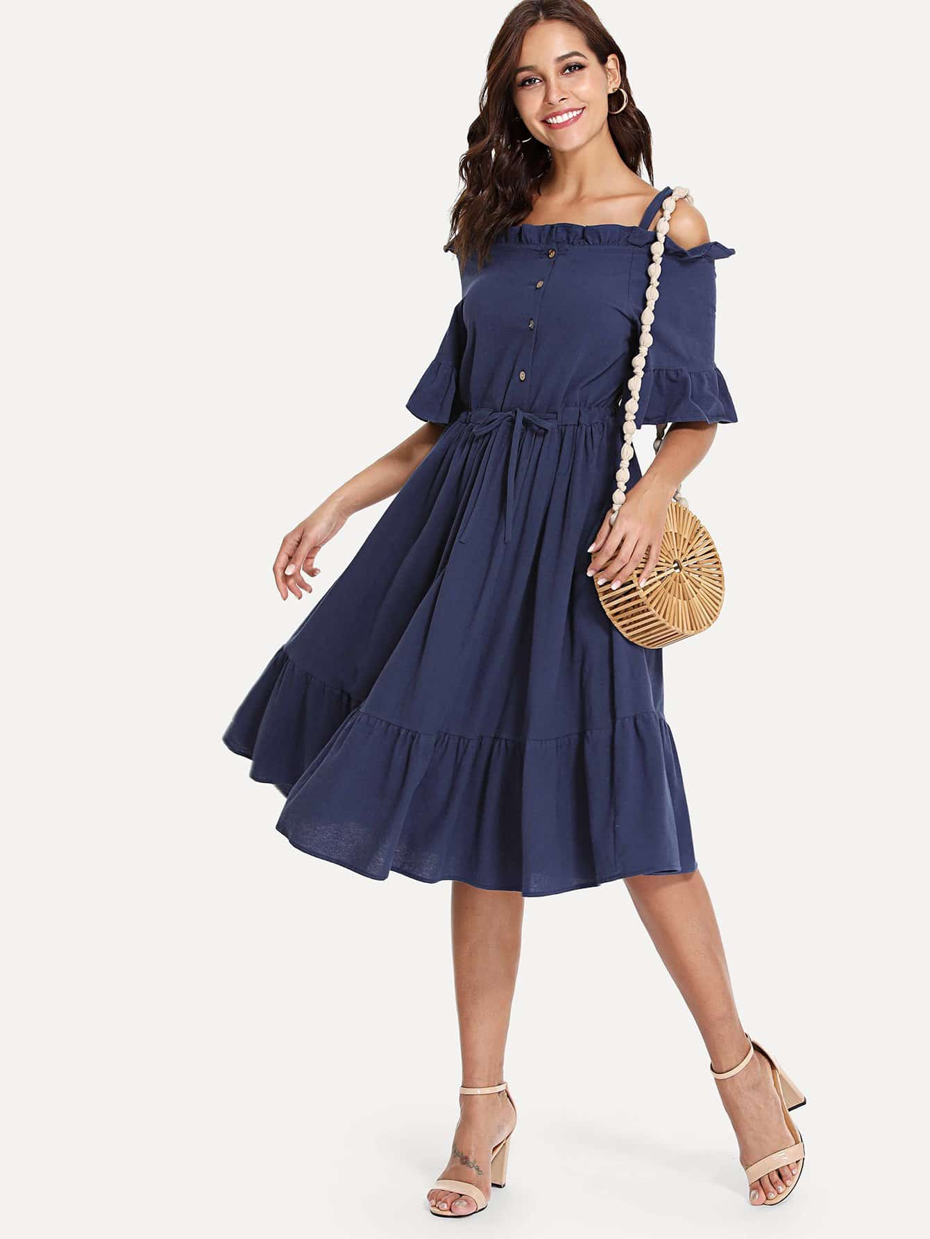 Open Shoulder Ruffle Hem Drawstring Waist Dress