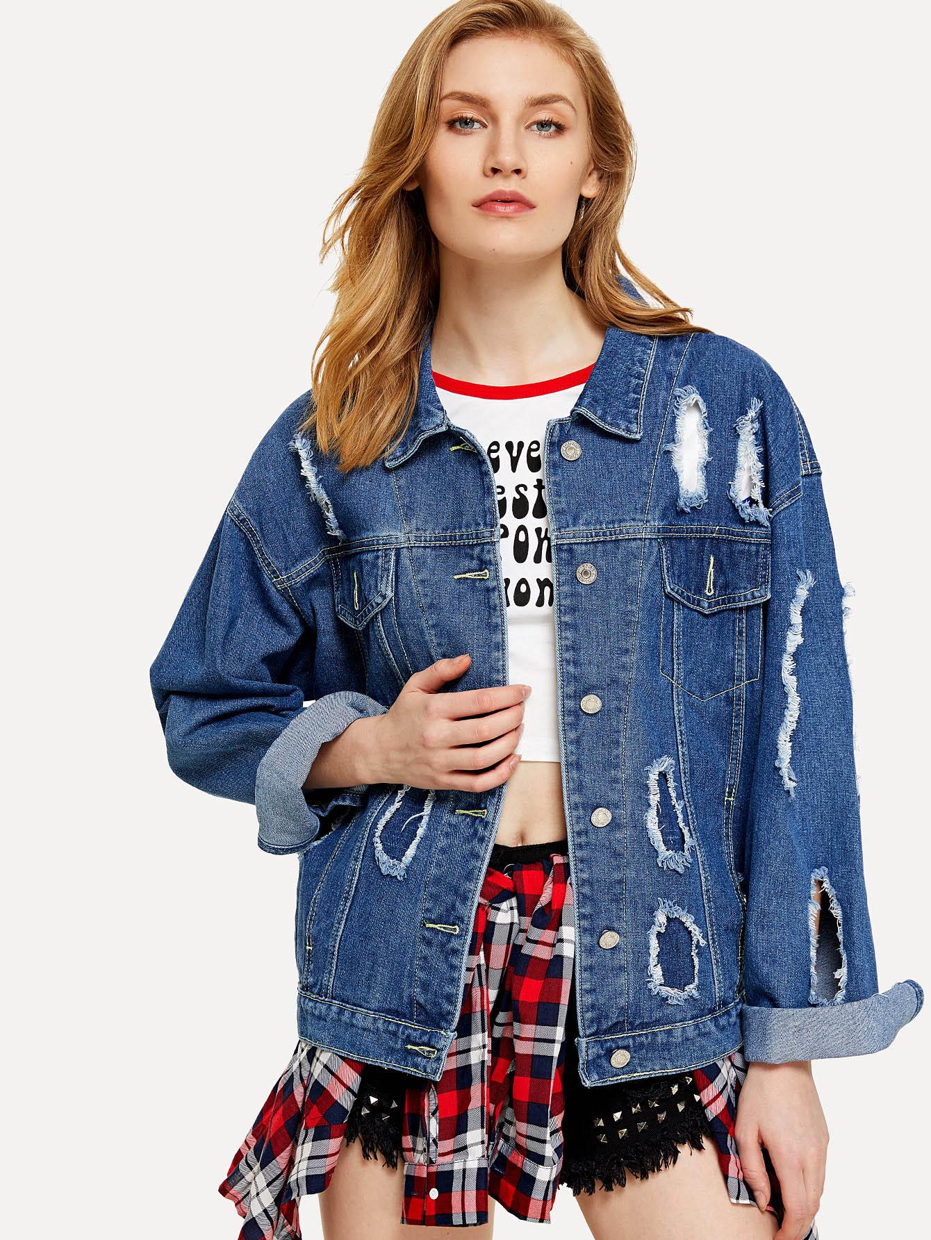 Drop Shoulder Ripped Denim Jacket letter print drop shoulder denim jacket
