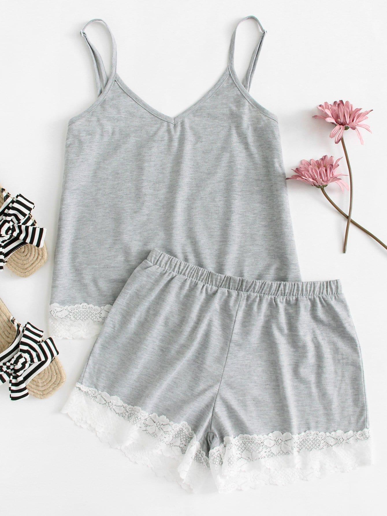 Lace Contrast Cami Top & Shorts PJ Set lace panel cami backless pj set
