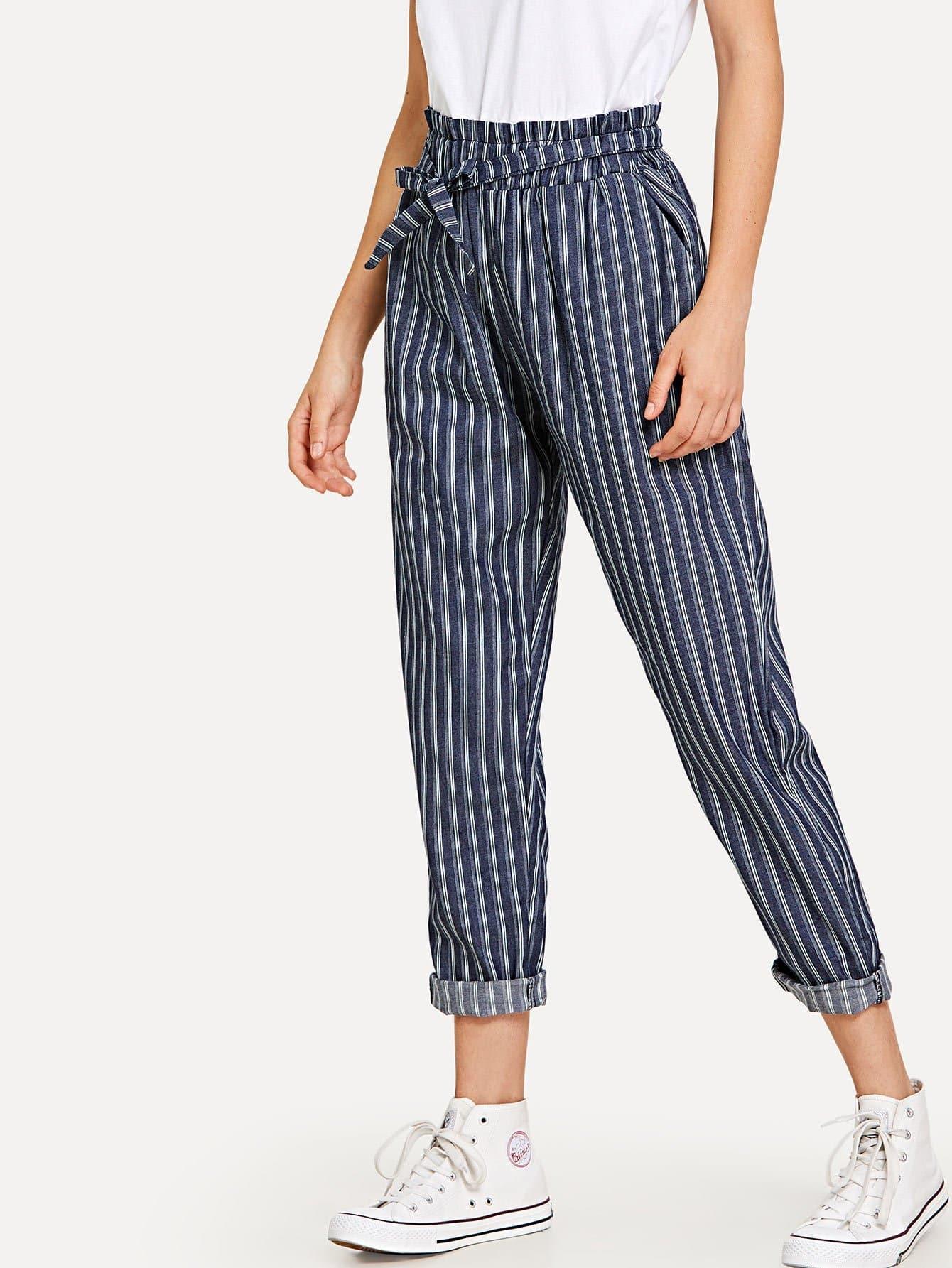 Tie Waist Stripe Pants striped ruffled waist self tie pants