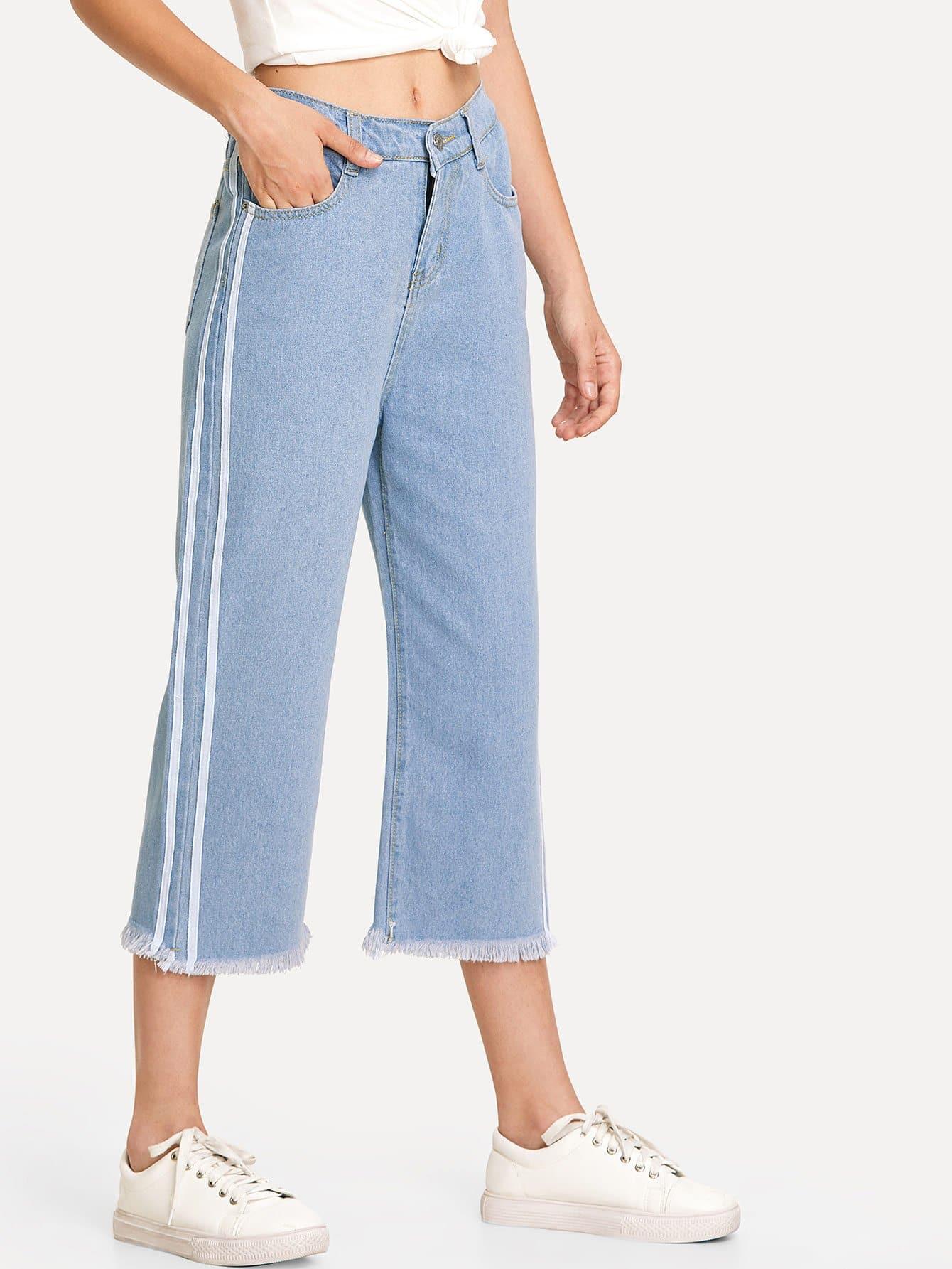 Striped Side Wide Leg Raw Hem Jeans