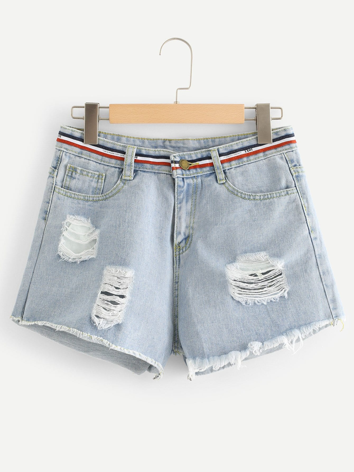 Stripe Contrast Raw Hem Ripped Denim Shorts цена