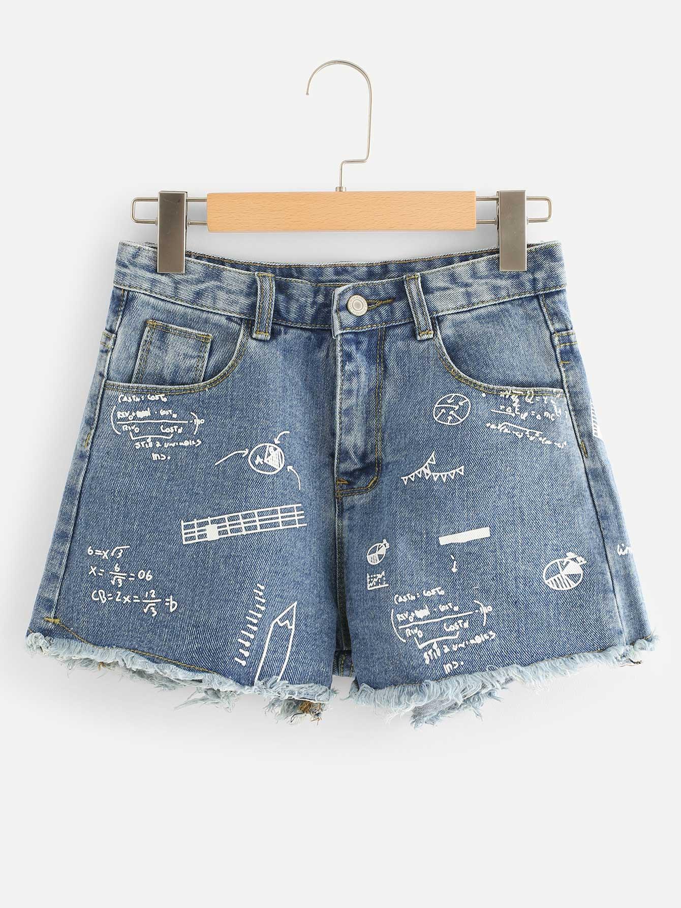 Formula Print Bleach Wash Denim Shorts stylish women s lace embellised bleach wash denim shorts
