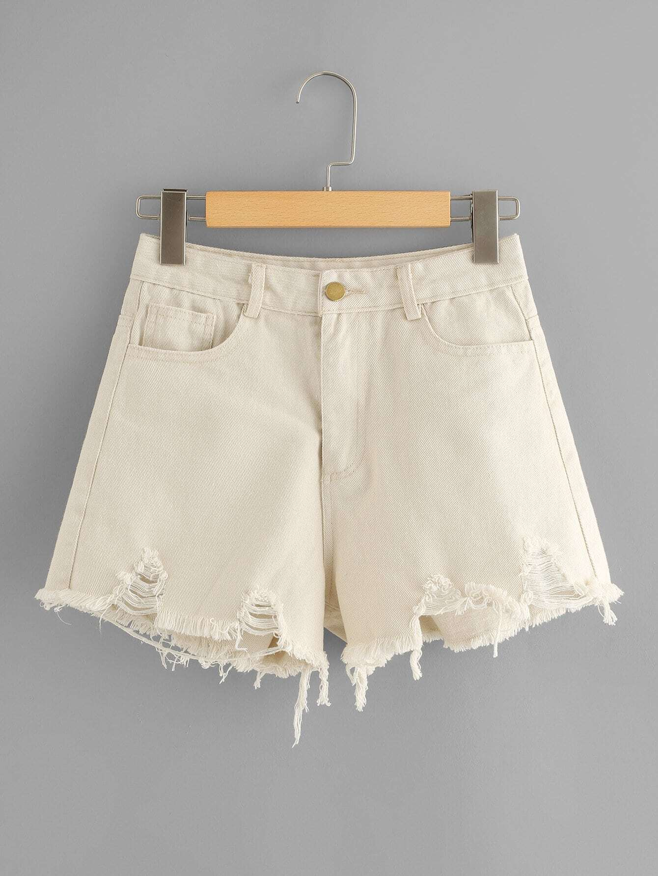 Frayed Hem Denim Shorts sweet wavy hem design striped shorts for women