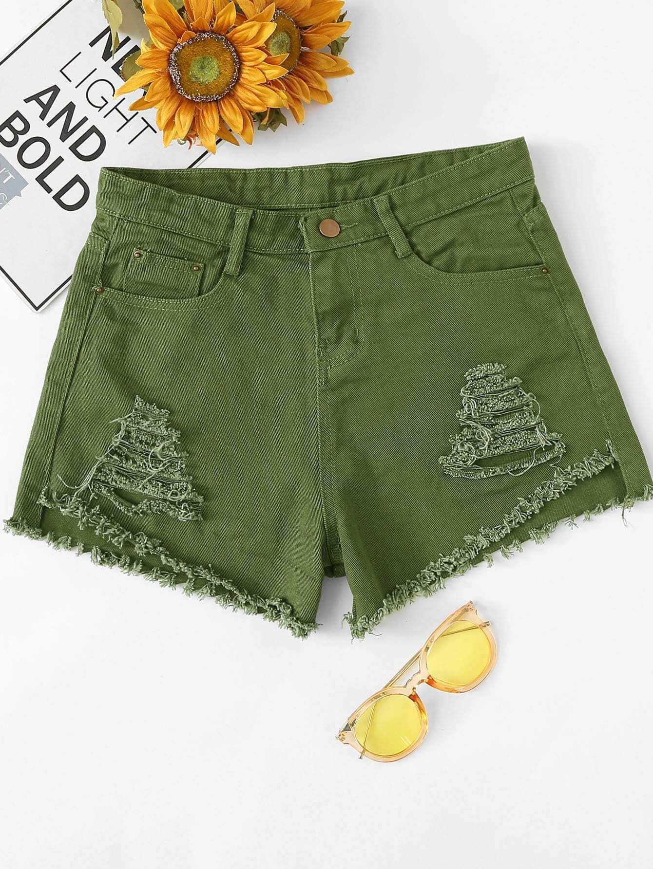 Купить Рванные джинсовые шорты с необработанными краями, null, SheIn