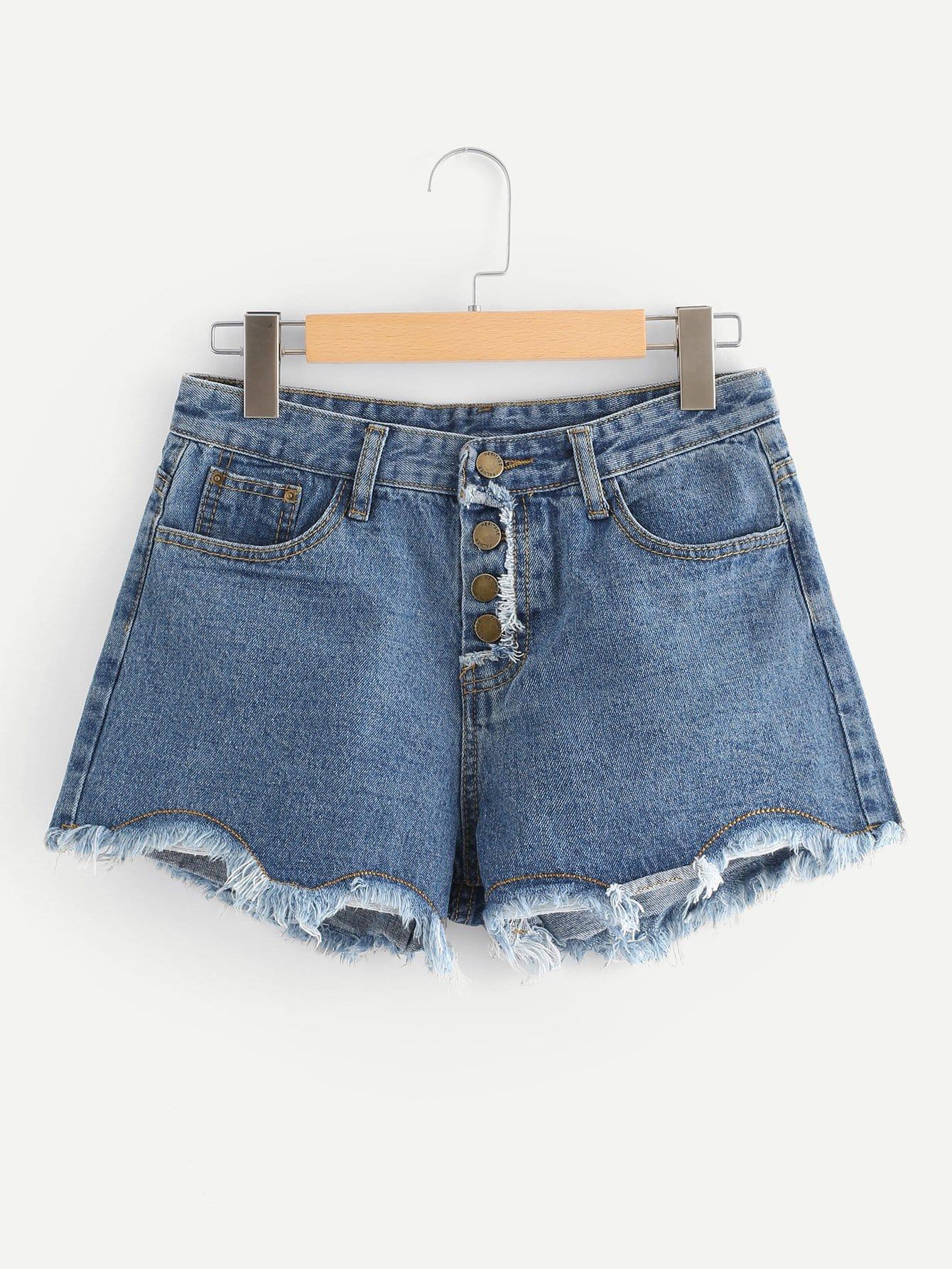 Raw Hem Denim Shorts sweet wavy hem design striped shorts for women