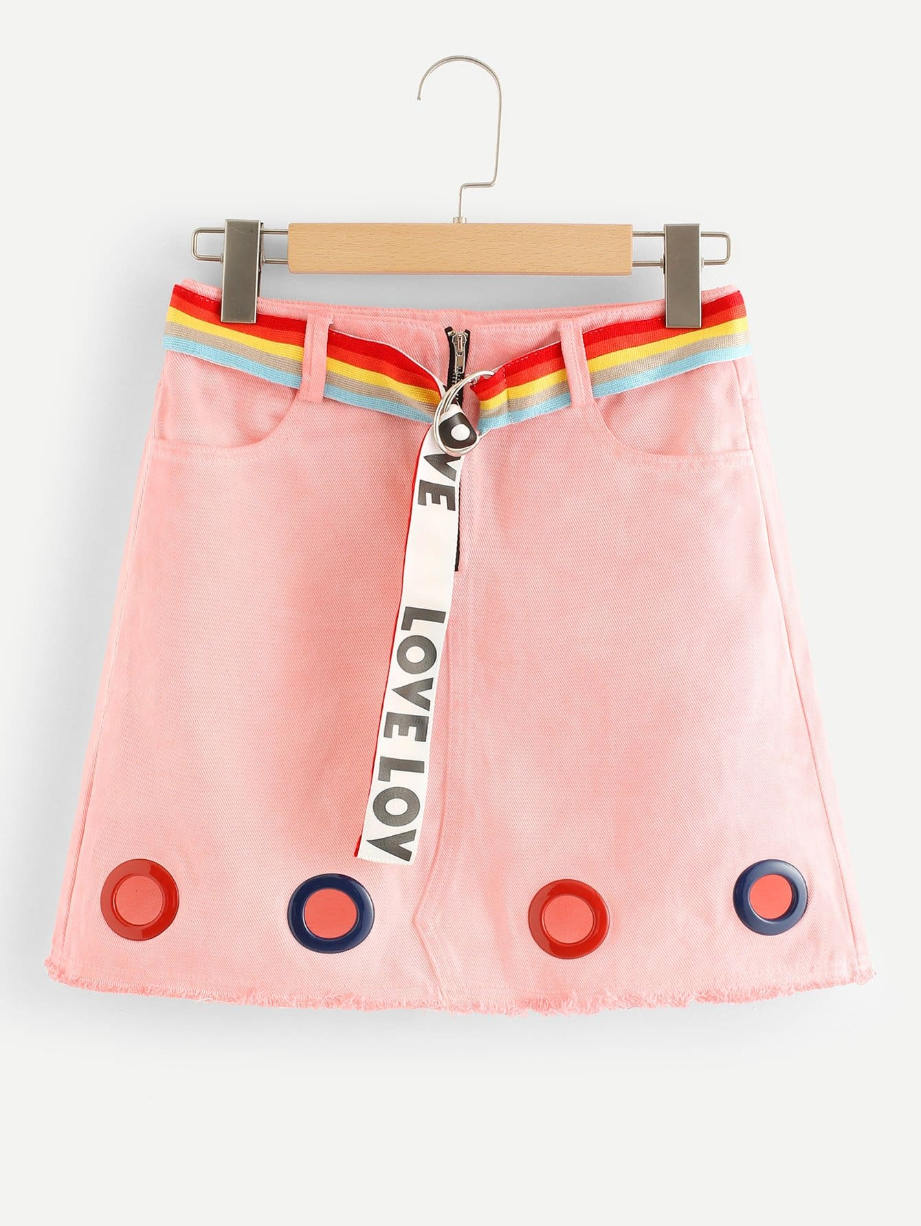 Metal Eyelet Denim Skirt With Belt belt cp v2 metal