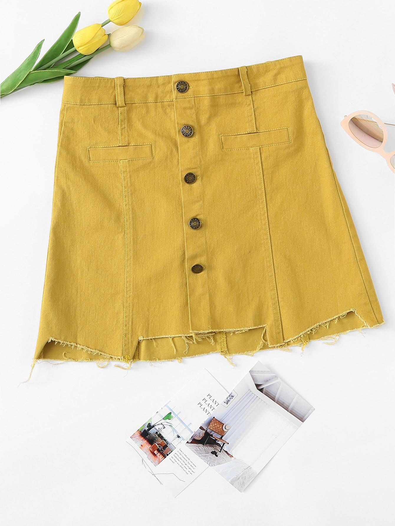 Button Front Cut Out Hem Denim Skirt button front denim suspender skirt