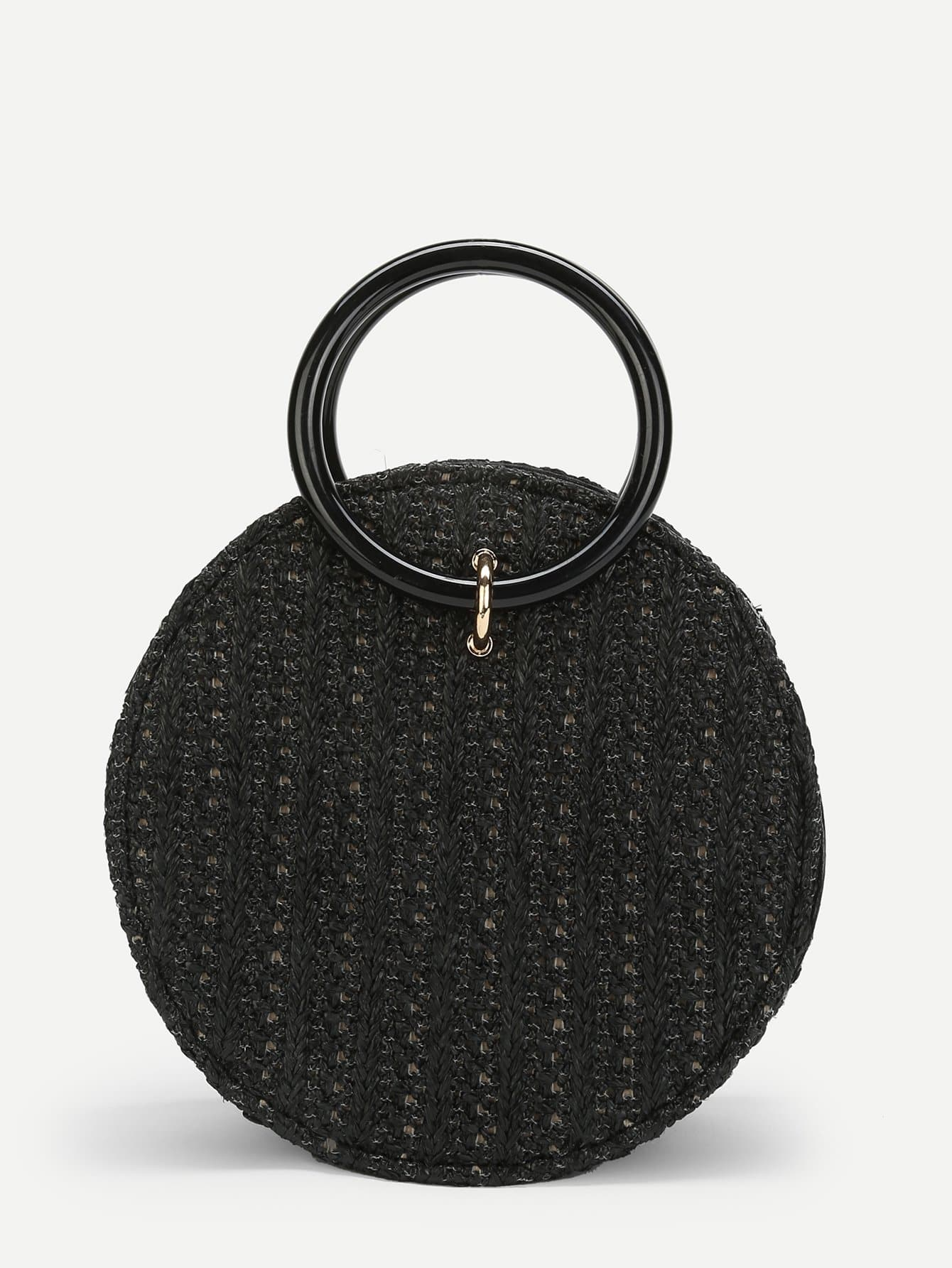 Ring Detail Straw Round Chain Bag palm tree pattern straw chain bag