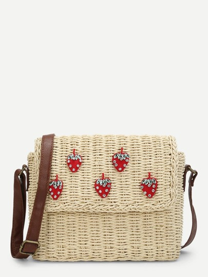 Strawberry Print Flap Crossbody Bag