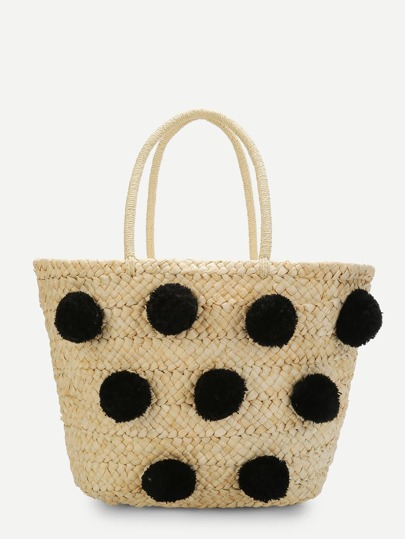 Straw Tote Bag With Pom Pom