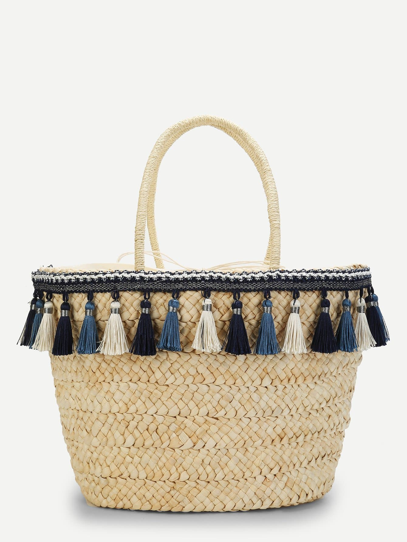Tassel Detail Straw Bag tassel detail straw crossbody bag