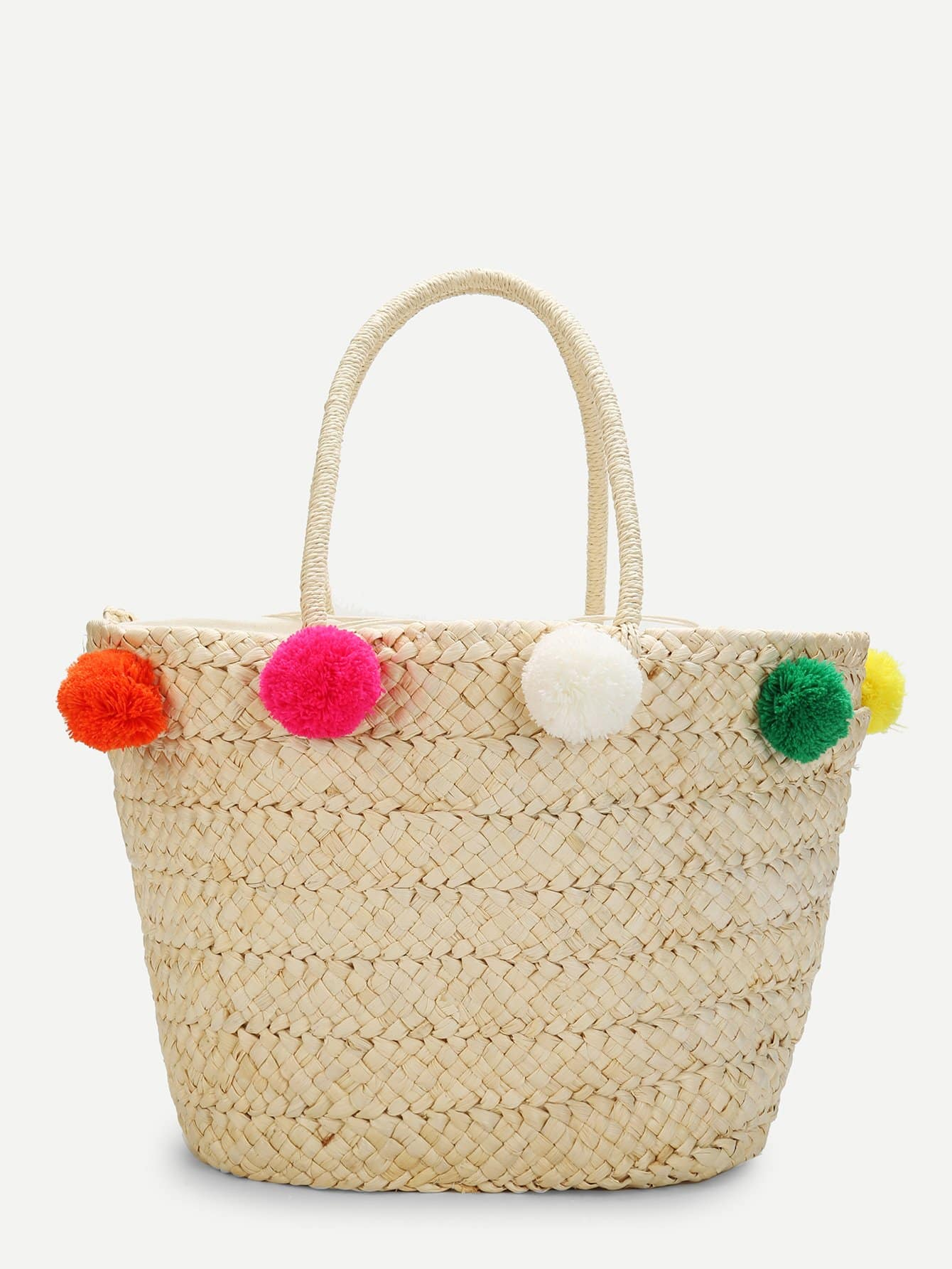 Straw Bucket Bag With Pom Pom flounce trim straw bucket bag