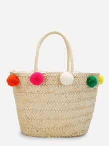 Straw Bucket Bag With Pom Pom