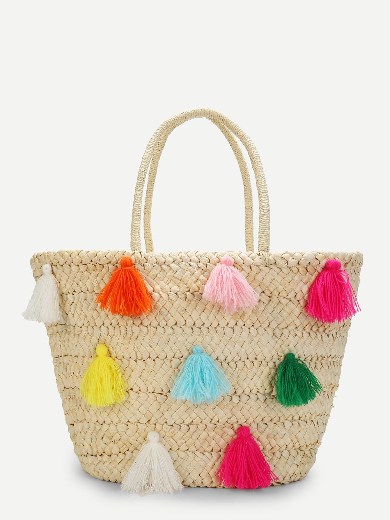 Multicolor Tassel Detail Straw Bucket Bag tassel detail straw crossbody bag