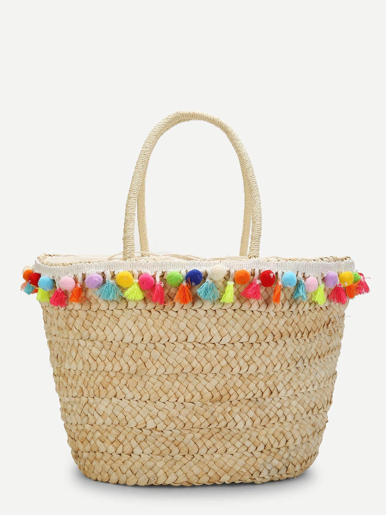 Tassel & Pom Pom Detail Straw Bucket Bag tassel detail straw crossbody bag